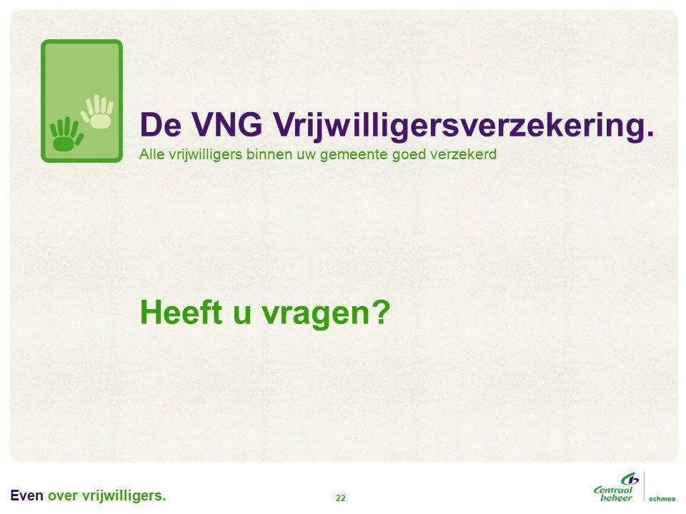Even over vrijwilligers. 22 Heeft u vragen. De VNG Vrijwilligersverzekering.