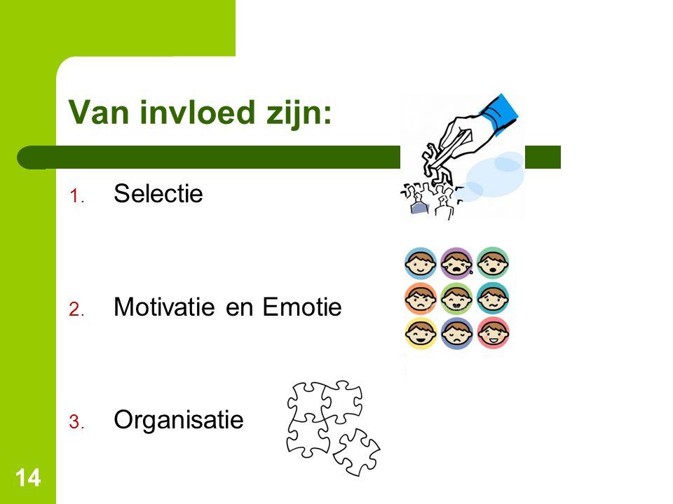 14 Van invloed zijn: 1. Selectie 2. Motivatie en Emotie 3. Organisatie