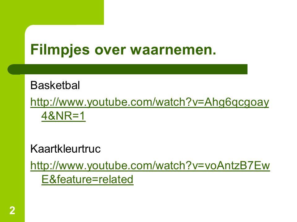 2 Filmpjes over waarnemen. Basketbal http://www.youtube.com/watch?v=Ahg6qcgoay 4&NR=1 Kaartkleurtruc http://www.youtube.com/watch?v=voAntzB7Ew E&featu