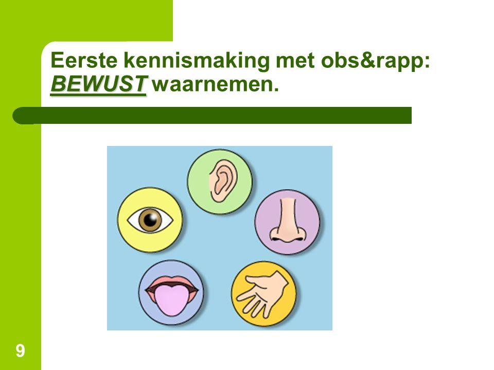 9 BEWUST Eerste kennismaking met obs&rapp: BEWUST waarnemen.