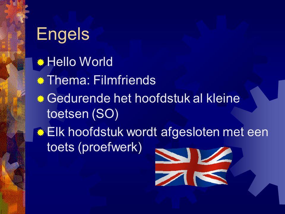 Engels  Hello World  Thema: Filmfriends  Gedurende het hoofdstuk al kleine toetsen (SO)  Elk hoofdstuk wordt afgesloten met een toets (proefwerk)
