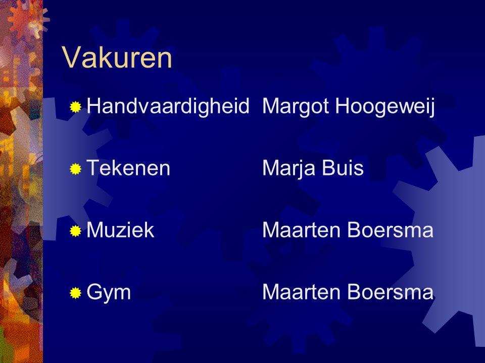 Vakuren  HandvaardigheidMargot Hoogeweij  TekenenMarja Buis  Muziek Maarten Boersma  GymMaarten Boersma