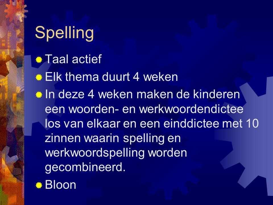 Spelling  Taal actief  Elk thema duurt 4 weken  In deze 4 weken maken de kinderen een woorden- en werkwoordendictee los van elkaar en een einddicte
