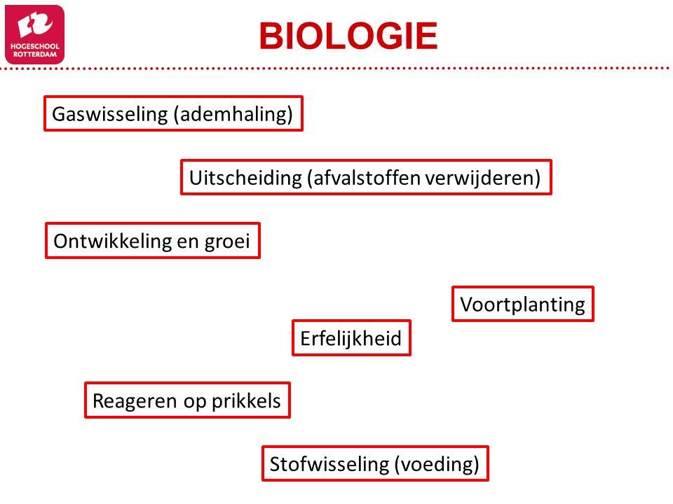 BIOLOGIE Gaswisseling (ademhaling) Stofwisseling (voeding) Uitscheiding (afvalstoffen verwijderen) Reageren op prikkels Erfelijkheid Voortplanting Ont