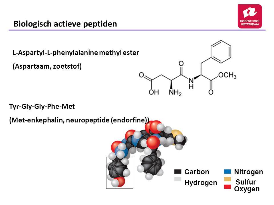 Biologisch actieve peptiden L-Aspartyl-L-phenylalanine methyl ester (Aspartaam, zoetstof) Carbon Hydrogen Nitrogen Sulfur Oxygen Tyr-Gly-Gly-Phe-Met (Met-enkephalin, neuropeptide (endorfine))
