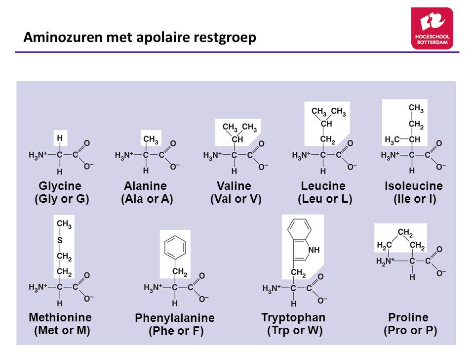 Aminozuren met apolaire restgroep Glycine (Gly or G) Alanine (Ala or A) Valine (Val or V) Leucine (Leu or L) Isoleucine (Ile or I) Methionine (Met or M) Phenylalanine (Phe or F) Tryptophan (Trp or W) Proline (Pro or P)