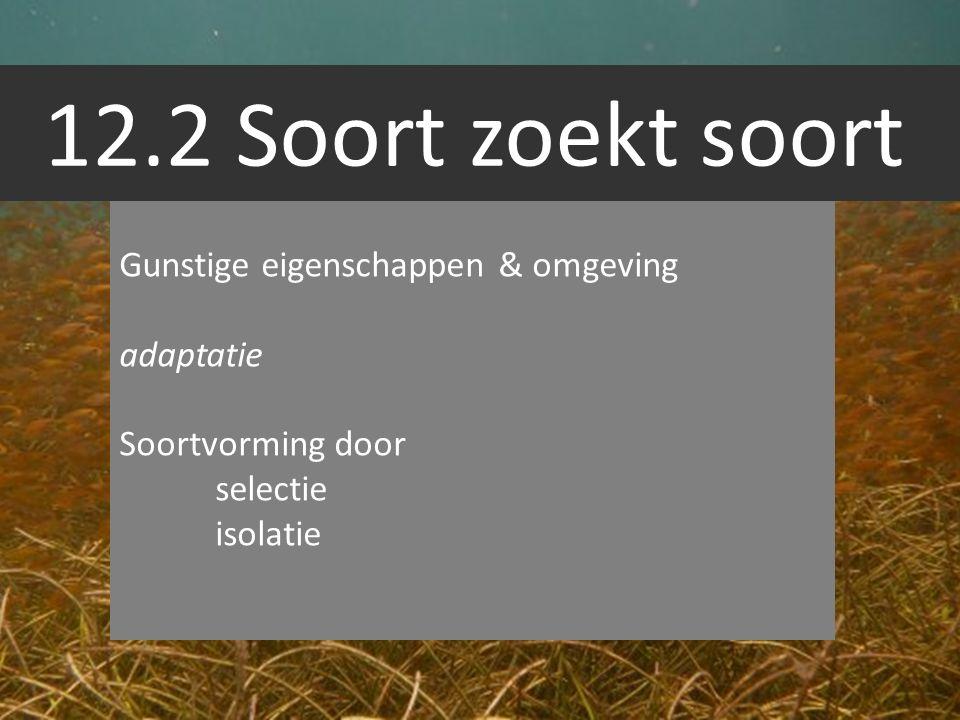 12.2 Soort zoekt soort Gunstige eigenschappen & omgeving adaptatie Soortvorming door selectie isolatie