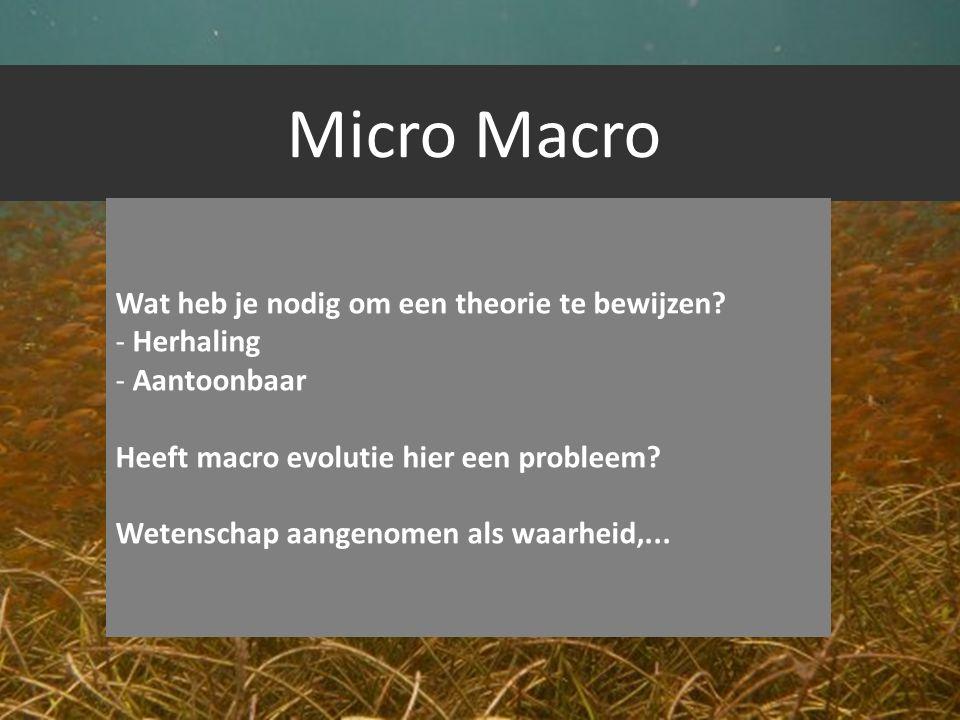 Micro Macro Wat heb je nodig om een theorie te bewijzen? - Herhaling - Aantoonbaar Heeft macro evolutie hier een probleem? Wetenschap aangenomen als w