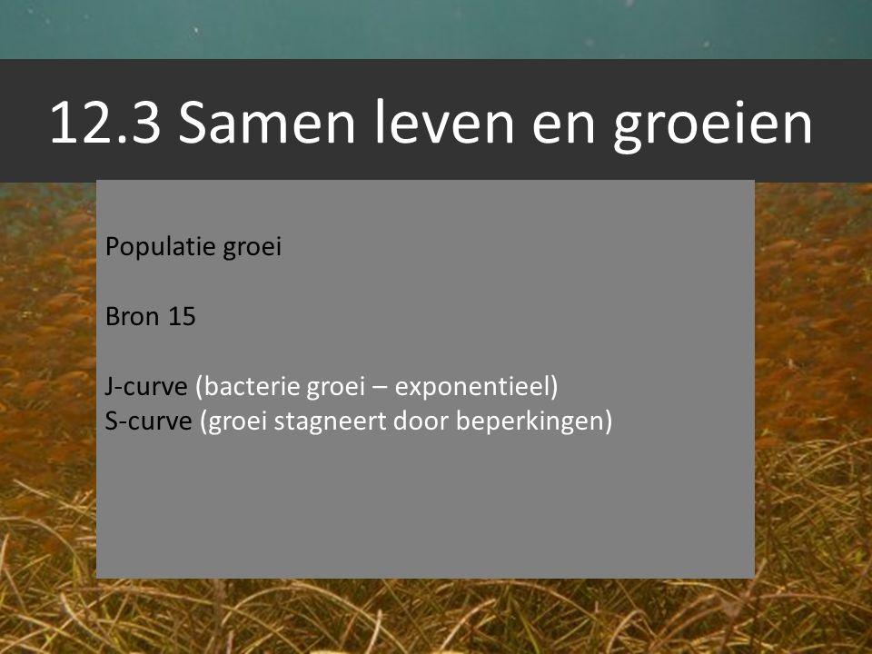12.3 Samen leven en groeien Populatie groei Bron 15 J-curve (bacterie groei – exponentieel) S-curve (groei stagneert door beperkingen)