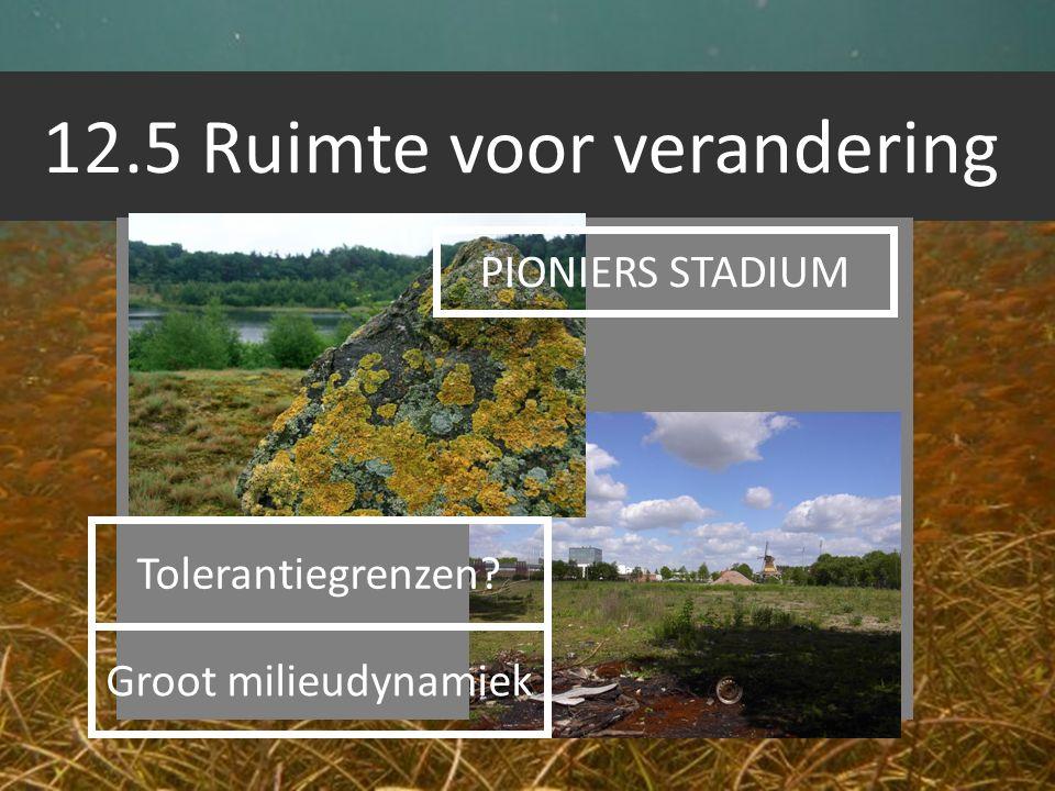 12.5 Ruimte voor verandering PIONIERS STADIUM Groot milieudynamiek Tolerantiegrenzen?