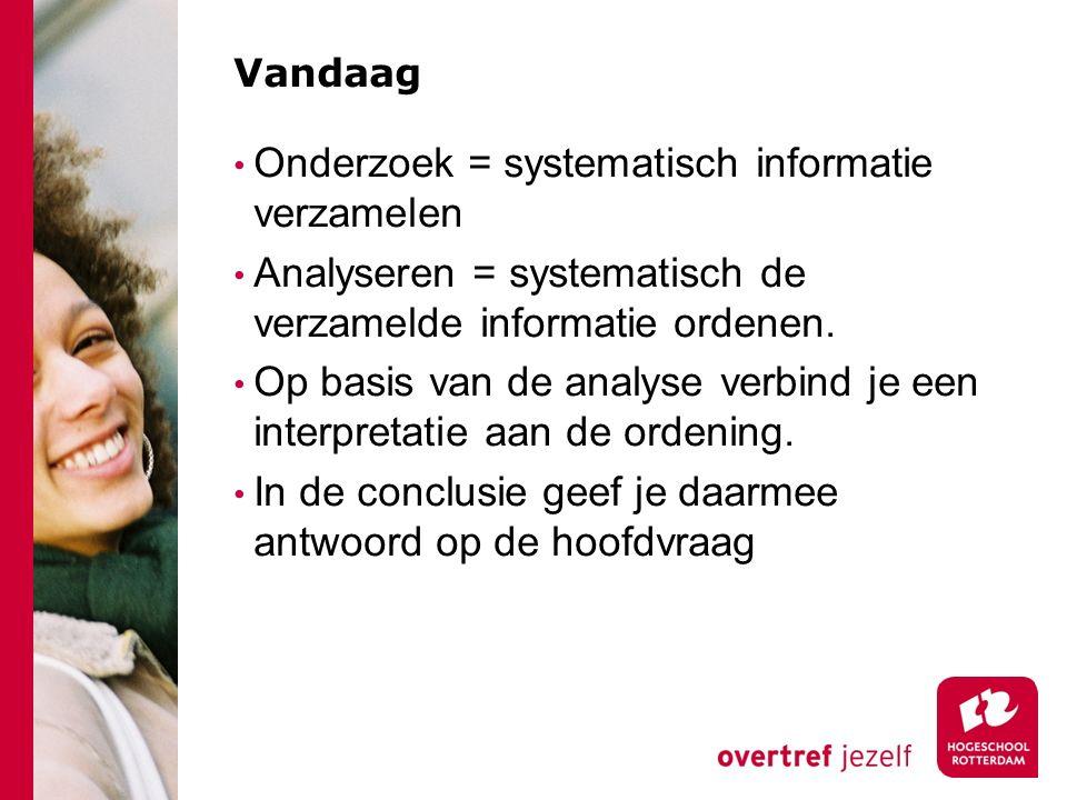 Vandaag Onderzoek = systematisch informatie verzamelen Analyseren = systematisch de verzamelde informatie ordenen.