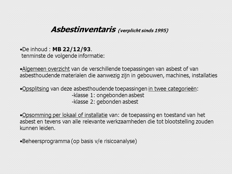 Asbestinventaris (verplicht sinds 1995) De inhoud : MB 22/12/93. tenminste de volgende informatie: Algemeen overzicht van de verschillende toepassinge