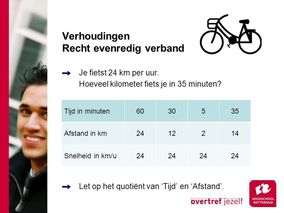 Verhoudingen Recht evenredig verband Je fietst 24 km per uur. Hoeveel kilometer fiets je in 35 minuten? Let op het quotiënt van 'Tijd' en 'Afstand'. T