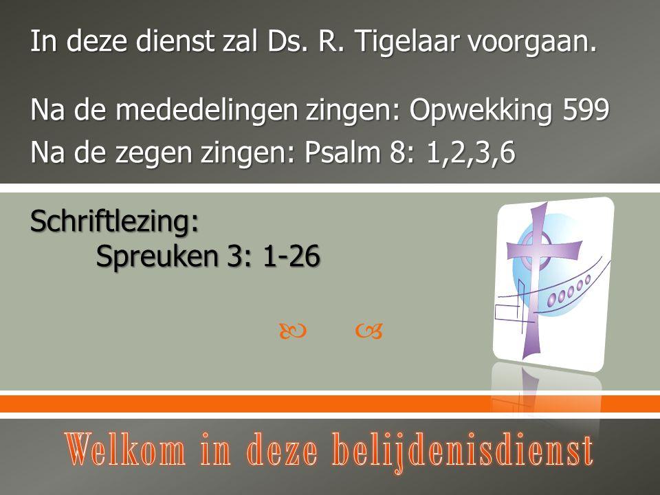  In deze dienst zal Ds. R. Tigelaar voorgaan. Na de mededelingen zingen: Opwekking 599 Na de zegen zingen: Psalm 8: 1,2,3,6 Schriftlezing: Spreuken 3