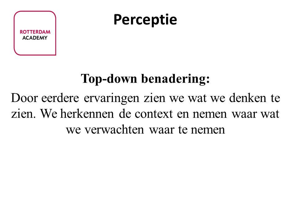 Top-down benadering: Door eerdere ervaringen zien we wat we denken te zien.