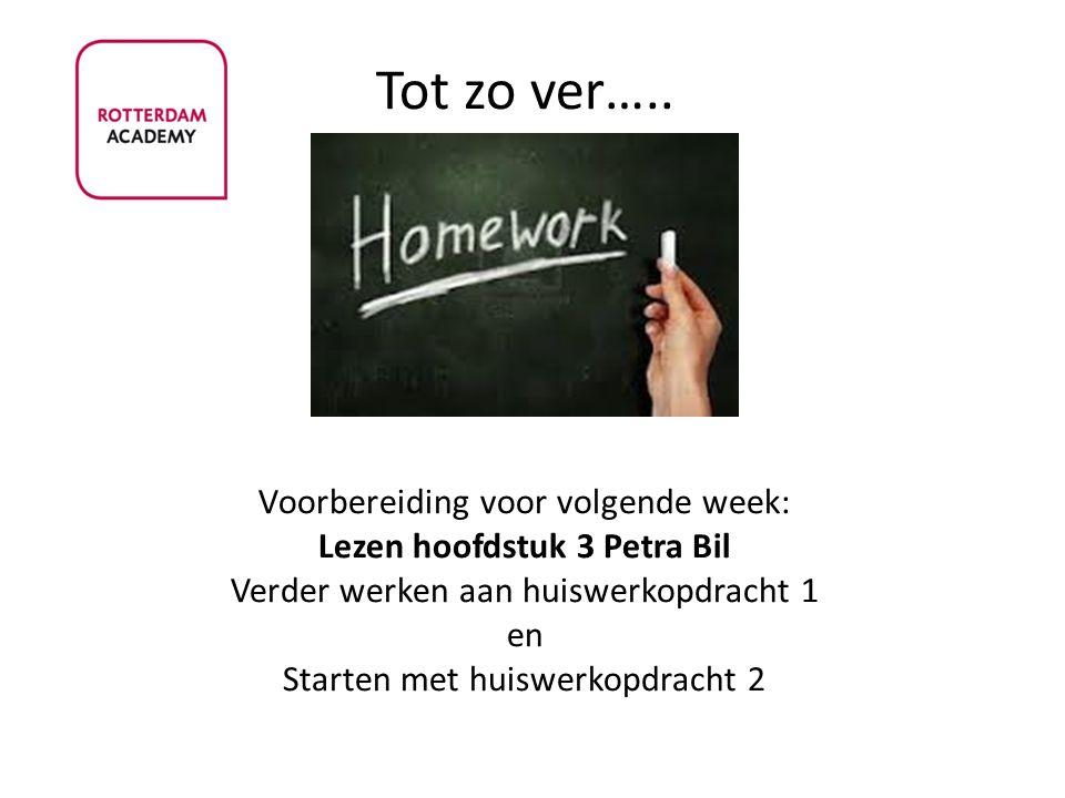 Tot zo ver….. Voorbereiding voor volgende week: Lezen hoofdstuk 3 Petra Bil Verder werken aan huiswerkopdracht 1 en Starten met huiswerkopdracht 2