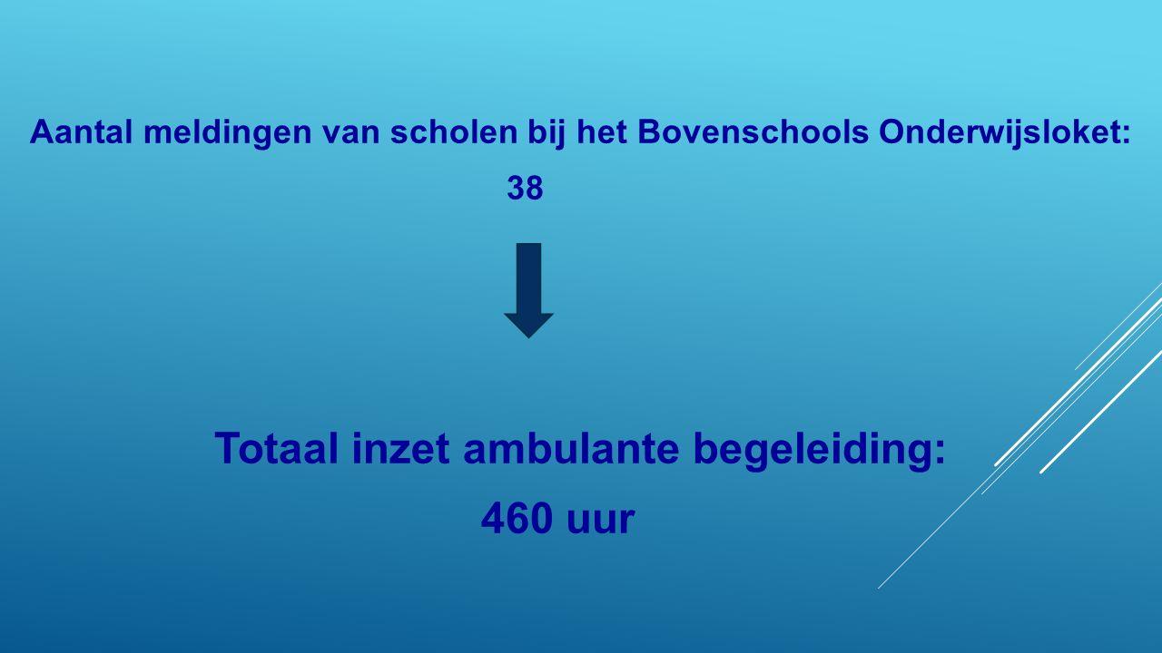 Aantal meldingen van scholen bij het Bovenschools Onderwijsloket: 38 Totaal inzet ambulante begeleiding: 460 uur