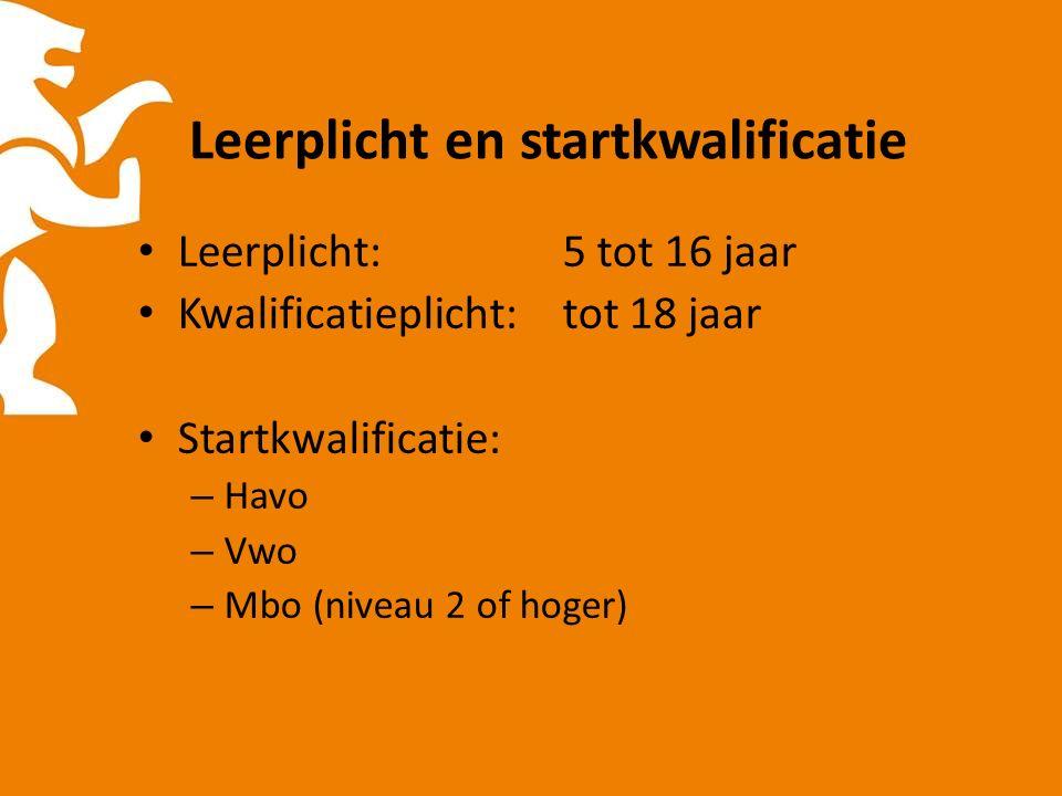 Leerplicht en startkwalificatie Leerplicht: 5 tot 16 jaar Kwalificatieplicht: tot 18 jaar Startkwalificatie: – Havo – Vwo – Mbo (niveau 2 of hoger)