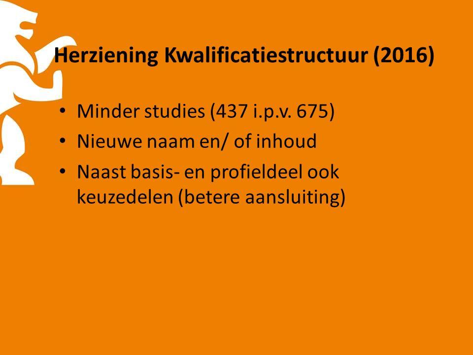 Herziening Kwalificatiestructuur (2016) Minder studies (437 i.p.v.