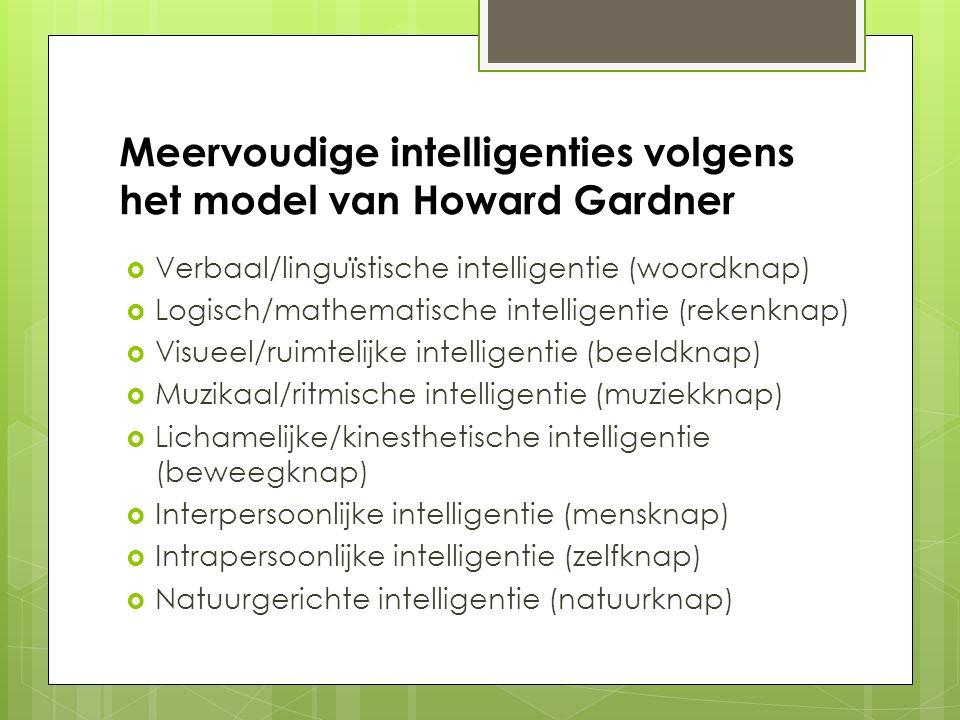 Meervoudige intelligenties volgens het model van Howard Gardner  Verbaal/linguïstische intelligentie (woordknap)  Logisch/mathematische intelligenti