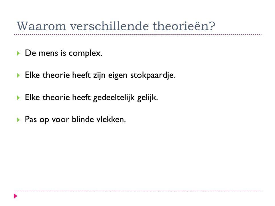  De mens is complex.  Elke theorie heeft zijn eigen stokpaardje.  Elke theorie heeft gedeeltelijk gelijk.  Pas op voor blinde vlekken. Waarom vers