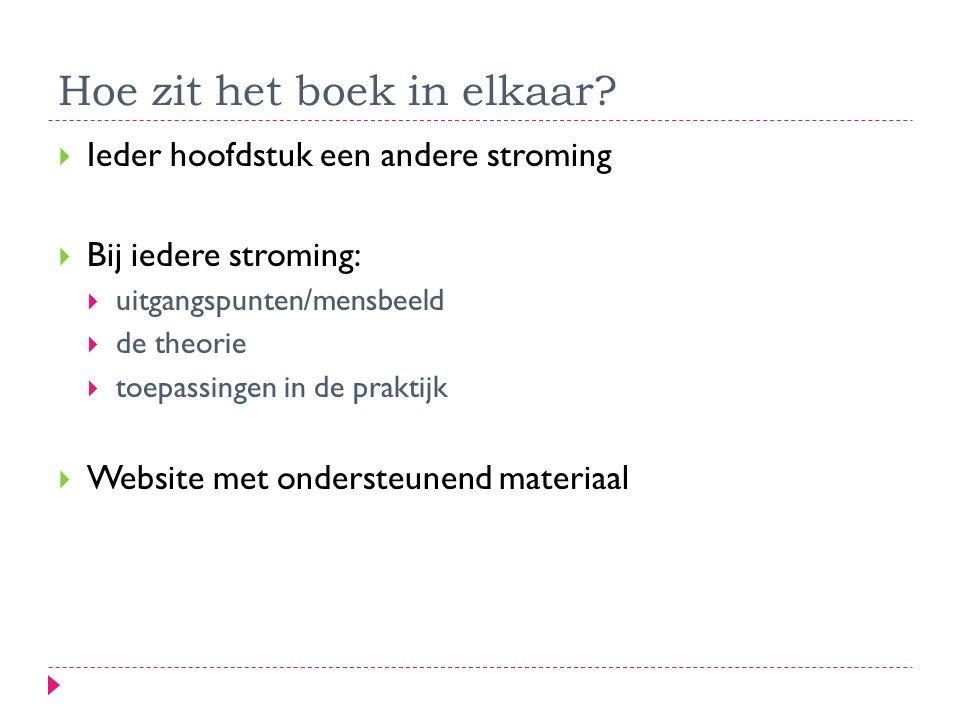 Hoe zit het boek in elkaar?  Ieder hoofdstuk een andere stroming  Bij iedere stroming:  uitgangspunten/mensbeeld  de theorie  toepassingen in de