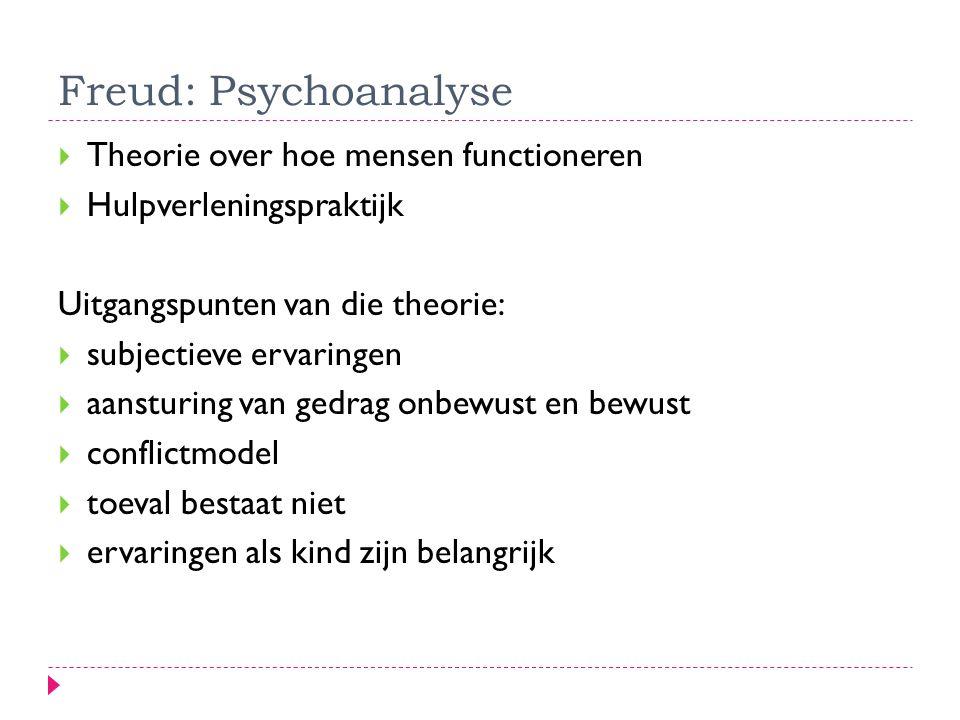 Freud: Psychoanalyse  Theorie over hoe mensen functioneren  Hulpverleningspraktijk Uitgangspunten van die theorie:  subjectieve ervaringen  aanstu