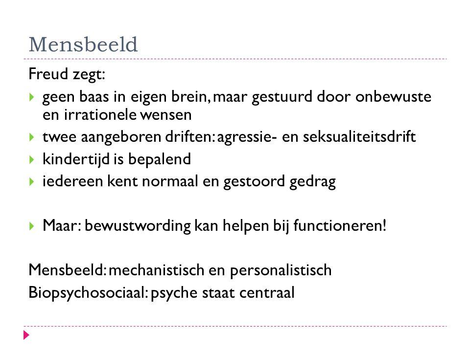 Mensbeeld Freud zegt:  geen baas in eigen brein, maar gestuurd door onbewuste en irrationele wensen  twee aangeboren driften: agressie- en seksualit
