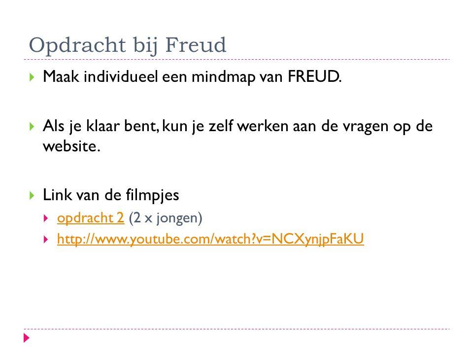 Opdracht bij Freud  Maak individueel een mindmap van FREUD.  Als je klaar bent, kun je zelf werken aan de vragen op de website.  Link van de filmpj