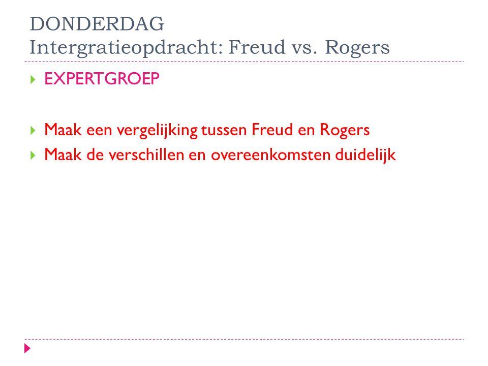 DONDERDAG Intergratieopdracht: Freud vs. Rogers  EXPERTGROEP  Maak een vergelijking tussen Freud en Rogers  Maak de verschillen en overeenkomsten d
