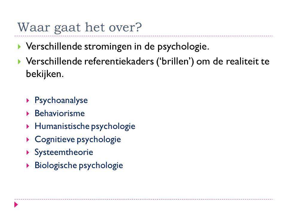 Waar gaat het over?  Verschillende stromingen in de psychologie.  Verschillende referentiekaders ('brillen') om de realiteit te bekijken.  Psychoan