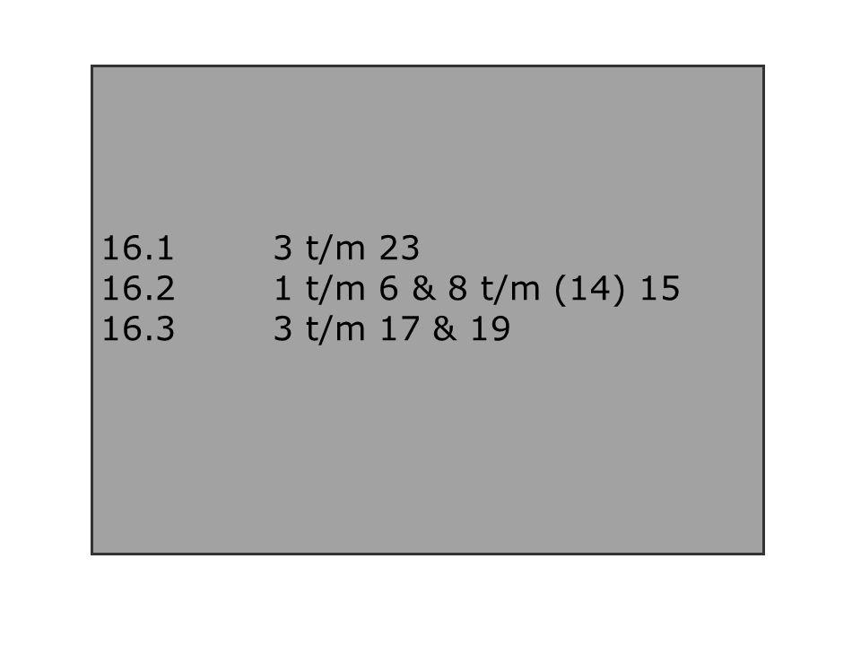 16.13 t/m 23 16.2 1 t/m 6 & 8 t/m (14) 15 16.33 t/m 17 & 19