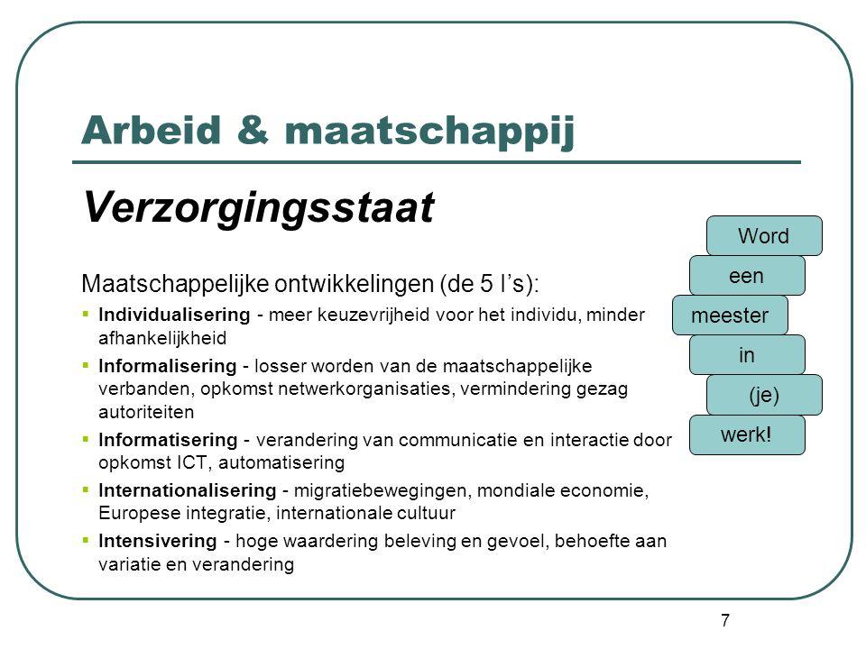Arbeid & maatschappij Verzorgingsstaat Maatschappelijke ontwikkelingen (de 5 I's):  Individualisering - meer keuzevrijheid voor het individu, minder