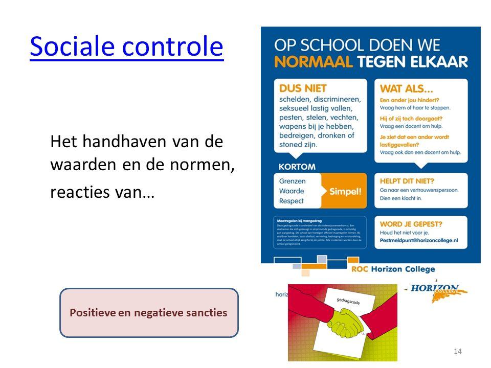 Sociale controle Het handhaven van de waarden en de normen, reacties van… 14 Positieve en negatieve sancties