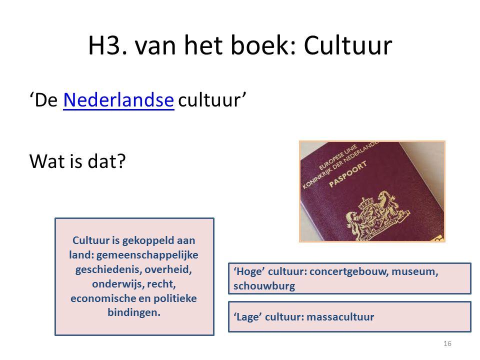 H3.van het boek: Cultuur 'De Nederlandse cultuur'Nederlandse Wat is dat.