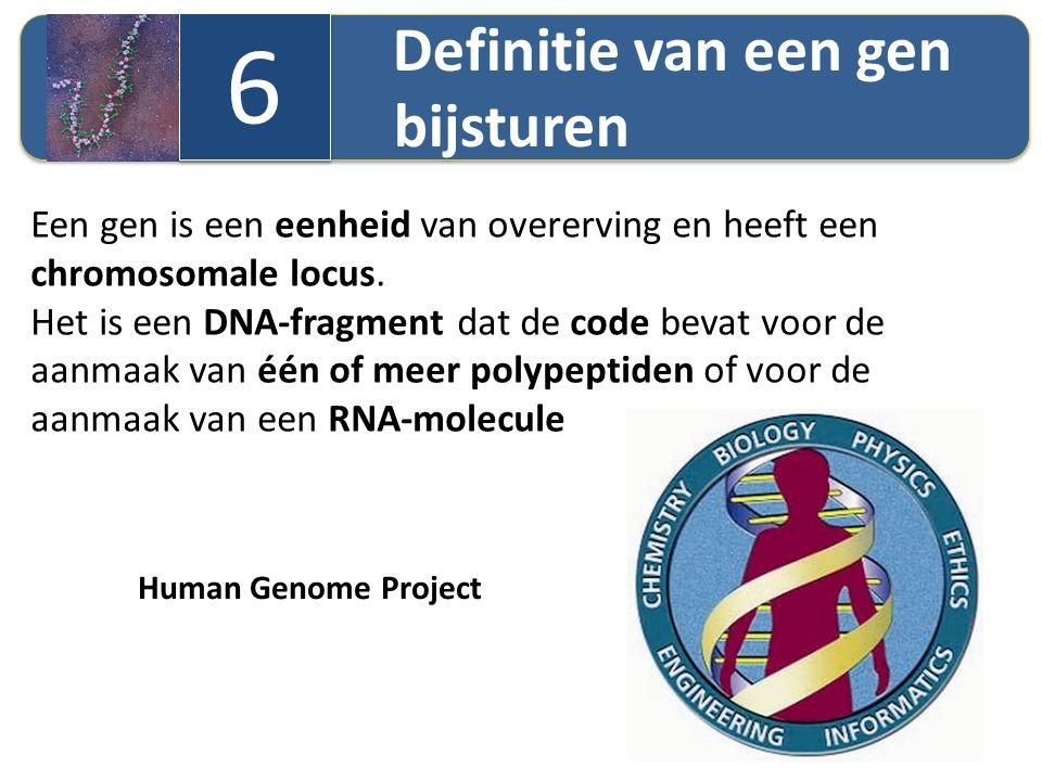 Definitie van een gen bijsturen 6 6 Een gen is een eenheid van overerving en heeft een chromosomale locus. Het is een DNA-fragment dat de code bevat v