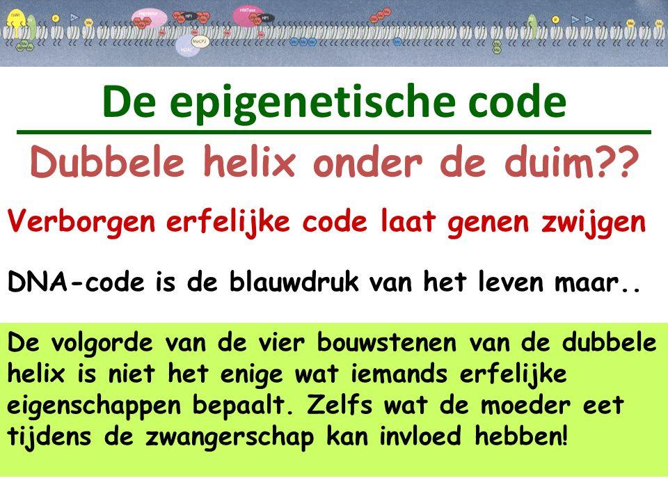 De epigenetische code Dubbele helix onder de duim?? Verborgen erfelijke code laat genen zwijgen De volgorde van de vier bouwstenen van de dubbele heli