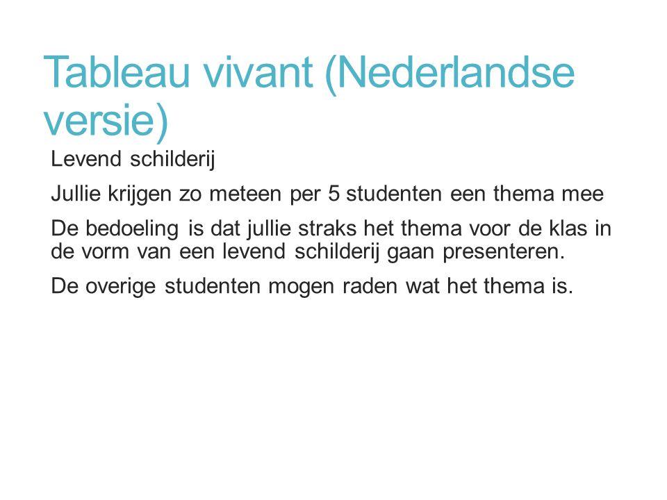 Tableau vivant (Nederlandse versie) Levend schilderij Jullie krijgen zo meteen per 5 studenten een thema mee De bedoeling is dat jullie straks het the