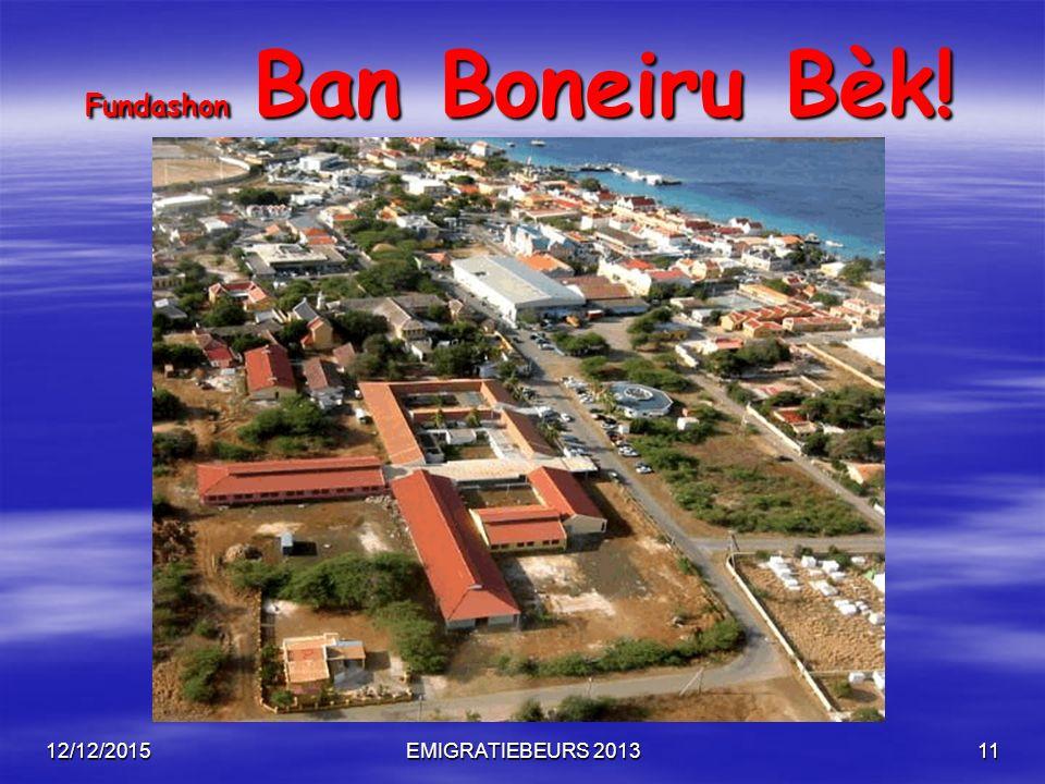 12/12/2015EMIGRATIEBEURS 201311 Fundashon Ban Boneiru Bèk! Fundashon