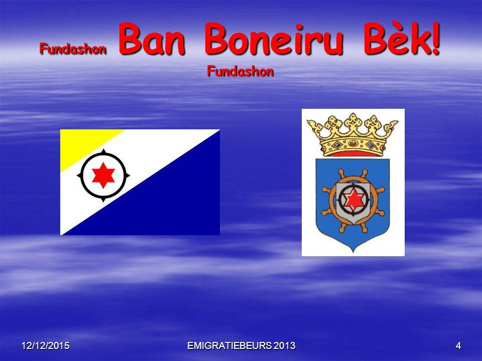 12/12/2015EMIGRATIEBEURS 201315 Fundashon Ban Boneiru Bèk! Fundashon