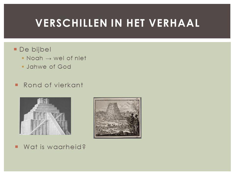  De bijbel  Noah → wel of niet  Jahwe of God  Rond of vierkant  Wat is waarheid.