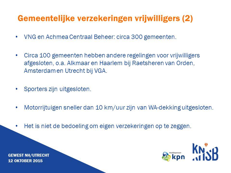 Gemeentelijke verzekeringen vrijwilligers (2) VNG en Achmea Centraal Beheer: circa 300 gemeenten. Circa 100 gemeenten hebben andere regelingen voor vr