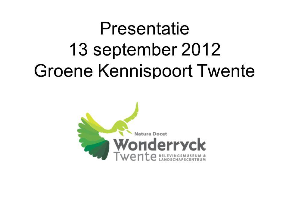 Presentatie 13 september 2012 Groene Kennispoort Twente