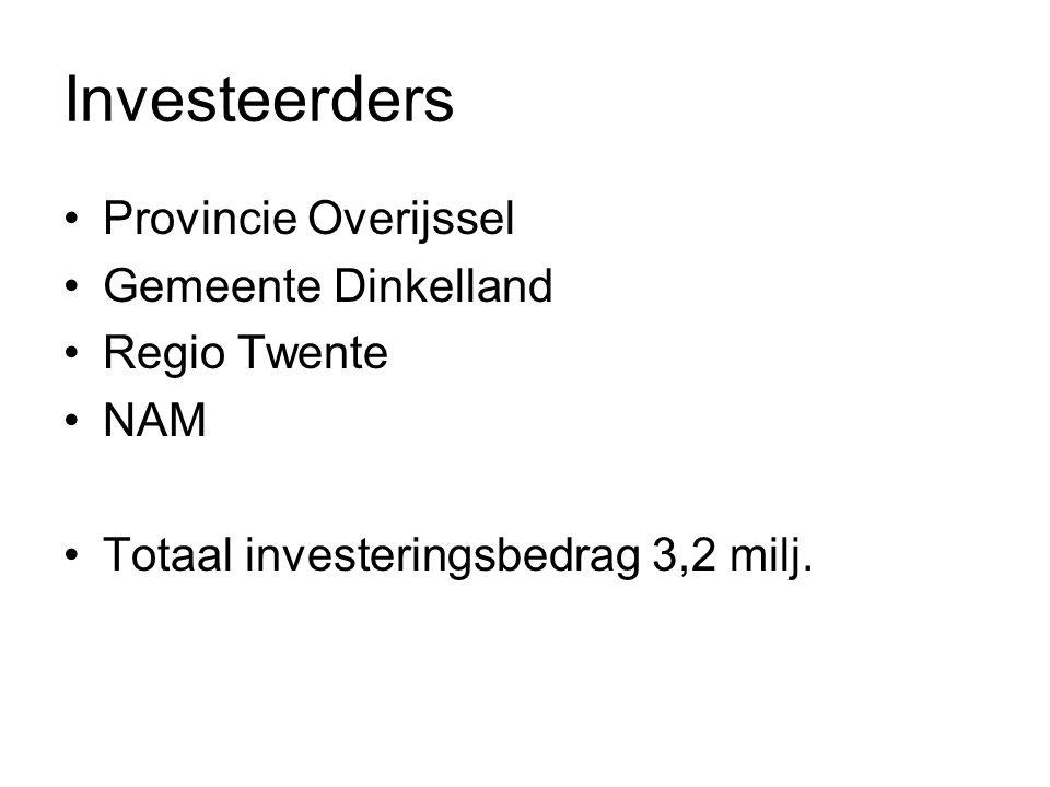 Investeerders Provincie Overijssel Gemeente Dinkelland Regio Twente NAM Totaal investeringsbedrag 3,2 milj.