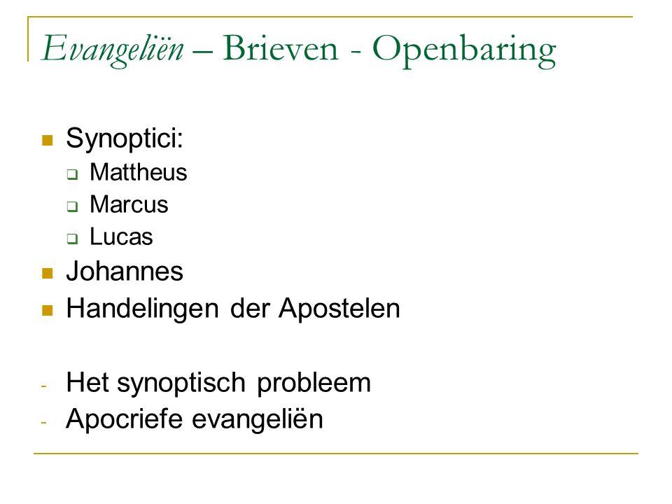 Evangeliën – Brieven - Openbaring Synoptici:  Mattheus  Marcus  Lucas Johannes Handelingen der Apostelen - Het synoptisch probleem - Apocriefe evangeliën