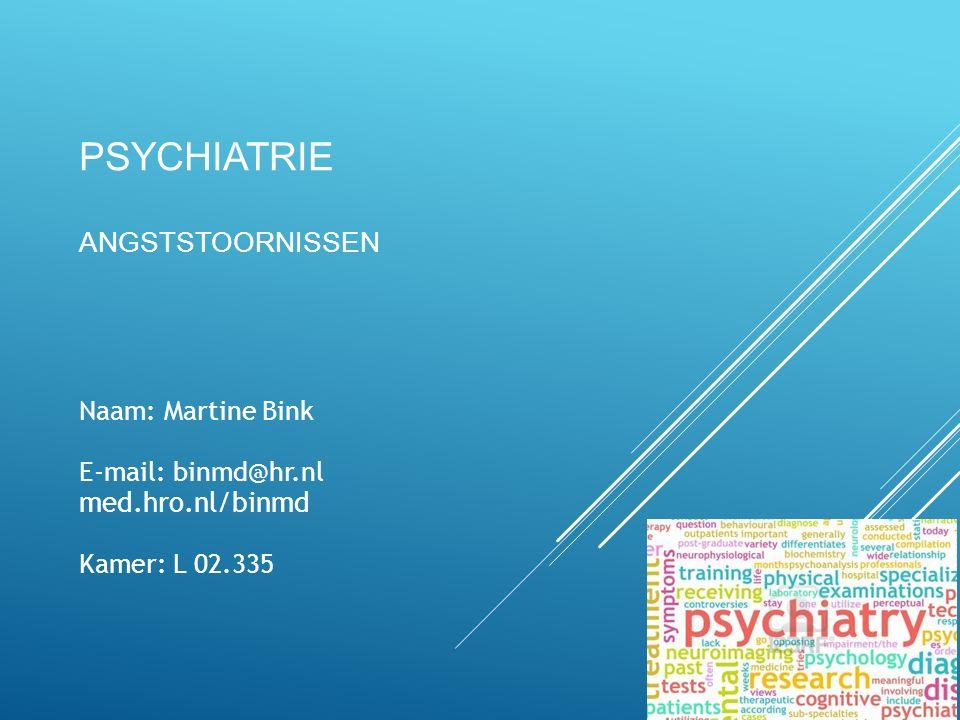 PSYCHIATRIE ANGSTSTOORNISSEN 1 Naam: Martine Bink E-mail: binmd@hr.nl med.hro.nl/binmd Kamer: L 02.335