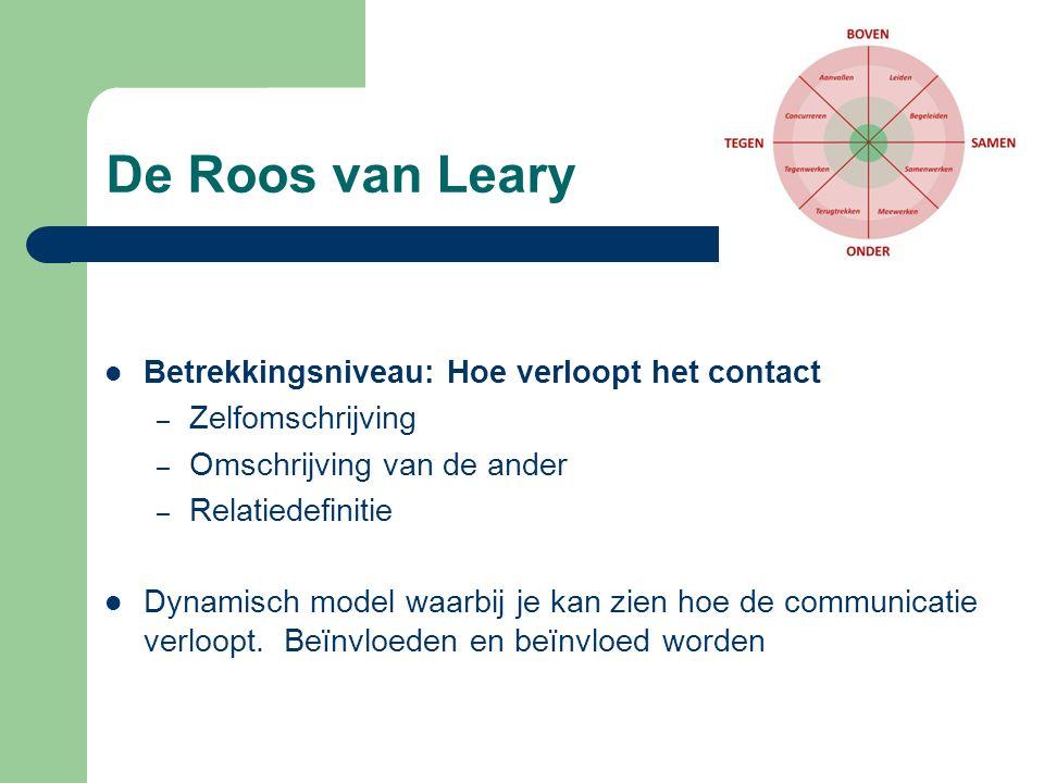 De Roos van Leary Betrekkingsniveau: Hoe verloopt het contact – Zelfomschrijving – Omschrijving van de ander – Relatiedefinitie Dynamisch model waarbi