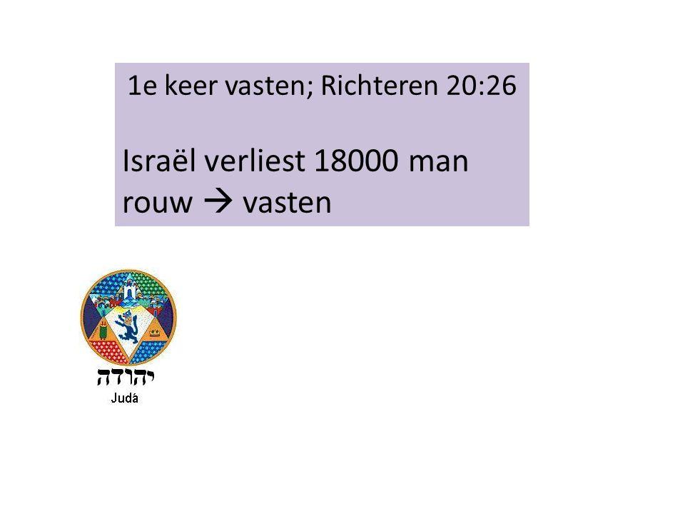 1e keer vasten; Richteren 20:26 Israël verliest 18000 man rouw  vasten