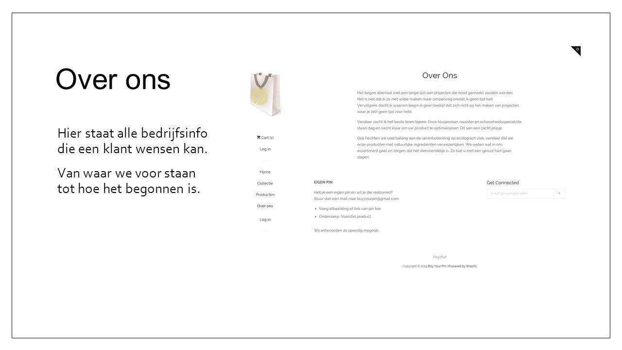 Details Druk je op een product dan kan je meer details over zien.