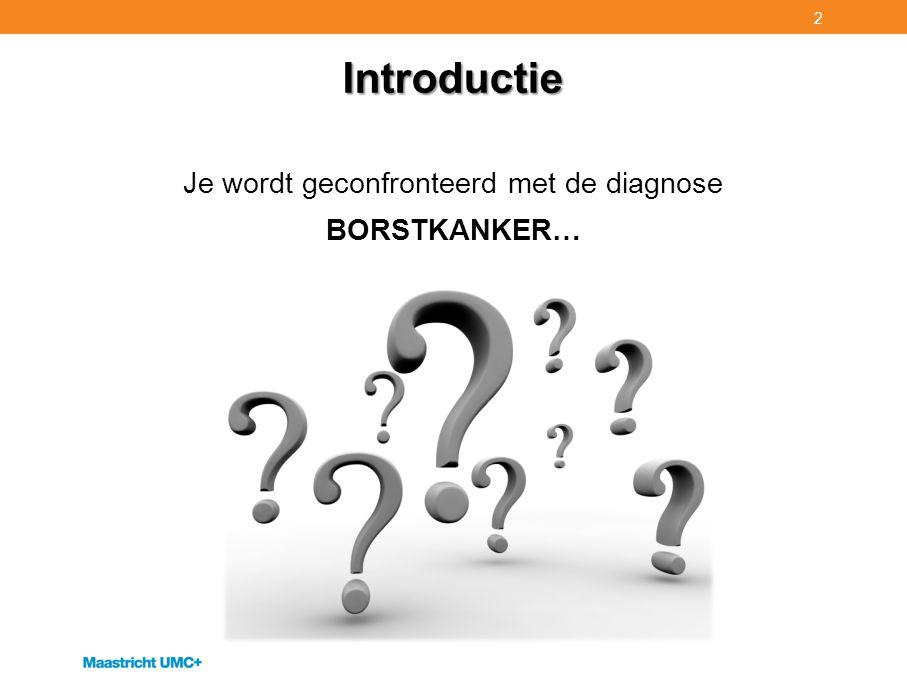 Introductie Je wordt geconfronteerd met de diagnose BORSTKANKER… 2